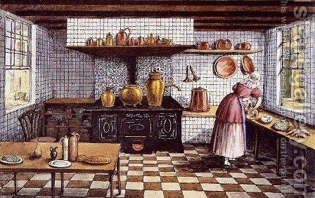 Kitchen of the Hotel St.Lucas, in the Hoogstraat, Rotterdam, 1834 by Mary Ellen Best - Reproduction Oil Painting
