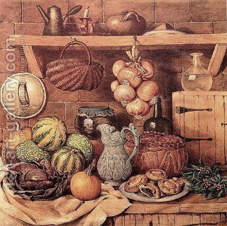 Still life with Christmas Food by Mary Ellen Best - Reproduction Oil Painting