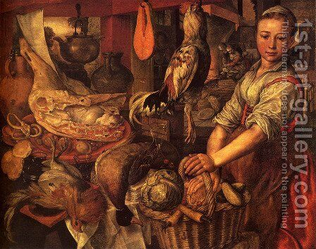 Kitchen Interior, 1566 by Joachim Beuckelaer - Reproduction Oil Painting