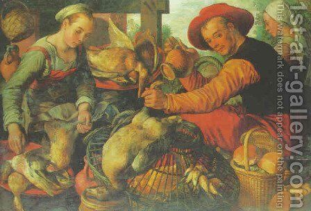 Peasants at a poultry stall by Joachim Beuckelaer - Reproduction Oil Painting