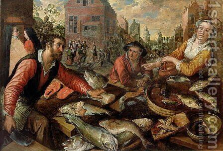 The Fish Market by Joachim Beuckelaer - Reproduction Oil Painting