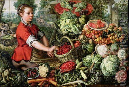 The Vegetable Seller by Joachim Beuckelaer - Reproduction Oil Painting