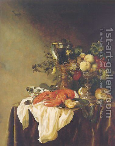 A banketje still life of fruit in a silver tazza, a lobster, a roemer and other objects on a white cloth on a velvet-draped table by Abraham Hendrickz Van Beyeren - Reproduction Oil Painting