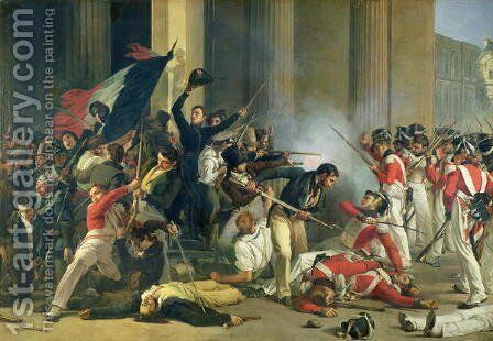 Scene of the 1830 Revolution at the Louvre by Jean Louis Bezard - Reproduction Oil Painting