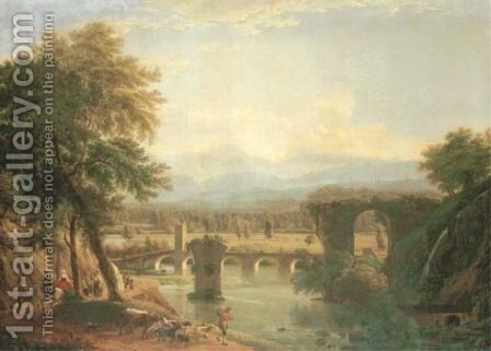 The Augustan bridge on the Nera river, near the town of Narni, Italy 1790 by Jean-Joseph-Xavier Bidauld - Reproduction Oil Painting