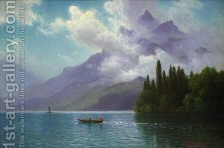 Lake View, Italian Alps by Albert Bierstadt - Reproduction Oil Painting
