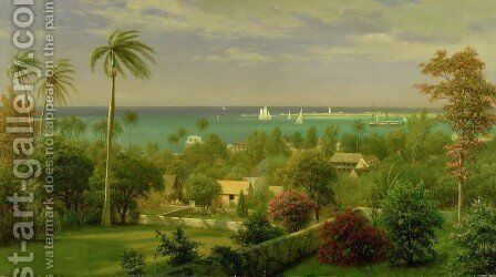 Panoramic View of the Harbour at Nassau in the Bahamas by Albert Bierstadt - Reproduction Oil Painting