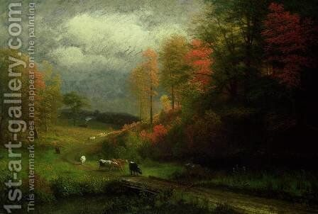 Rainy Day in Autumn, Massachusetts, 1857 by Albert Bierstadt - Reproduction Oil Painting