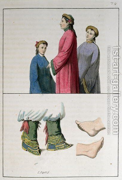 The feet of Chinese women, illustration from 'Le Costume Ancien et Moderne'  1819 by Giovanni Bigatti - Reproduction Oil Painting