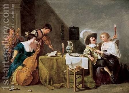 A Merry Musical Company 1635-45 by Jan Hermansz. van Biljert - Reproduction Oil Painting