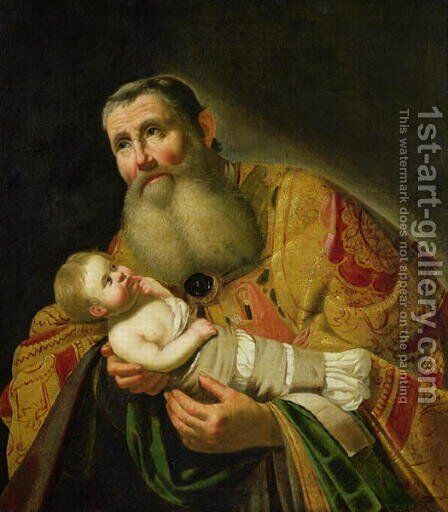 St. Simeon Presenting the Infant Christ in the Temple by Jan Hermansz. van Biljert - Reproduction Oil Painting