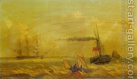The 'Kingston' upon hull packet steamer in the mouth of the Humber 1843 by Thomas A. Binks - Reproduction Oil Painting