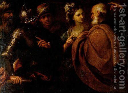 The Denial of Saint Peter and The Offering of Abigail by Bartolomeo Biscaino - Reproduction Oil Painting