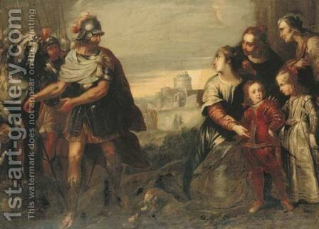 Volumnia with her sons before Coriolanus, the Castel Sant'Angelo beyond by Bartolomeo Biscaino - Reproduction Oil Painting