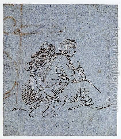 A Seated Woman with Two Children by Giuseppe Bernardino Bison - Reproduction Oil Painting