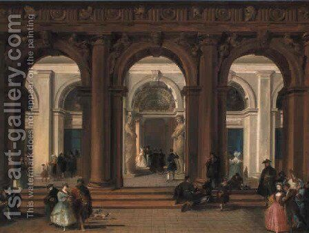 The entrance to the Biblioteca Marciana, Venice by Giuseppe Bernardino Bison - Reproduction Oil Painting