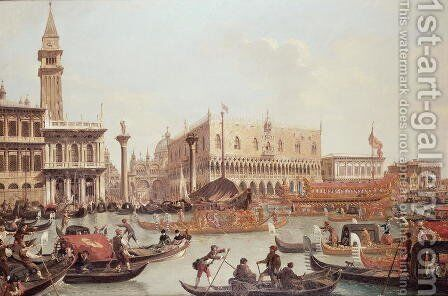 View of the Doge's Palace and the Piazzetta, Venice by Giuseppe Bernardino Bison - Reproduction Oil Painting