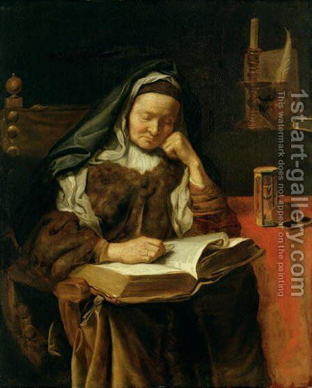 Old Woman Sleeping by Cornelis Bisschop - Reproduction Oil Painting