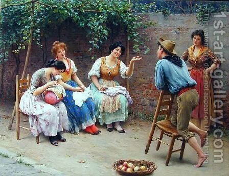 Die Plauderei - Chatting by Eugene de Blaas - Reproduction Oil Painting