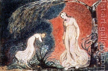 Book of Thel- the Lily bowing before Thel, before going off 'to mind her numerous charge among the verdant grass', 1789 by William Blake - Reproduction Oil Painting