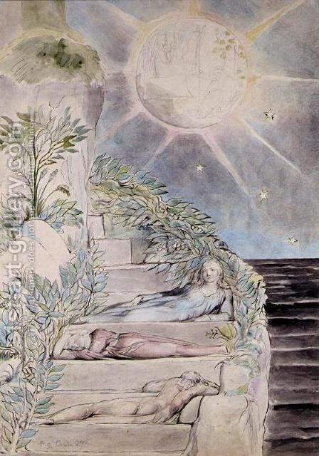 Dante and Statius Sleeping, Virgil Watching by William Blake - Reproduction Oil Painting