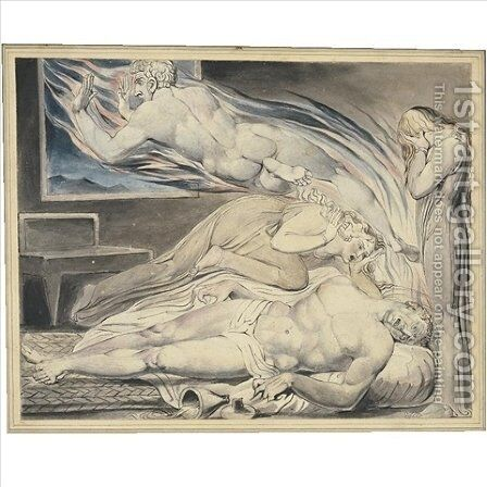Death of the strong wicked man (The strong wicked man dying) by William Blake - Reproduction Oil Painting