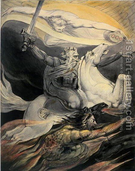 Death on a Pale Horse, c.1800 by William Blake - Reproduction Oil Painting