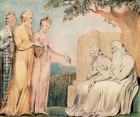 Illustrations of the Book of Job- Job accepting Charity, 1825 by William Blake - Reproduction Oil Painting