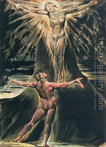 Jerusalem The Emanation of the Giant Albion- plate 76 Albion before Christ crucified on the Tree of Knowledge and Good and Evil, 1804-20 by William Blake - Reproduction Oil Painting