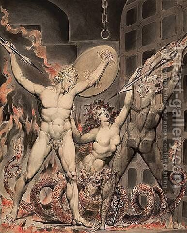 Satan, Sin, and Death- Satan Comes to the Gates of Hell by William Blake - Reproduction Oil Painting
