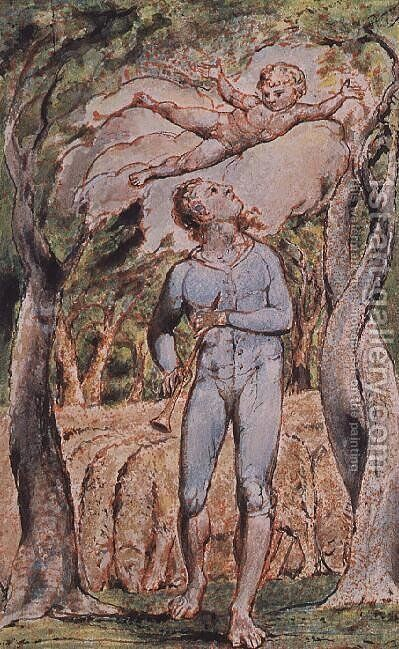 Songs of Innocence; 'the Piper' by William Blake - Reproduction Oil Painting