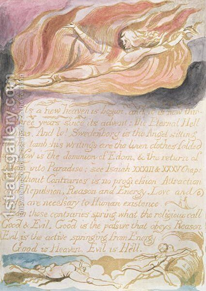 The Marriage of Heaven and Hell- 'As a new heaven is begun', c.1790 by William Blake - Reproduction Oil Painting