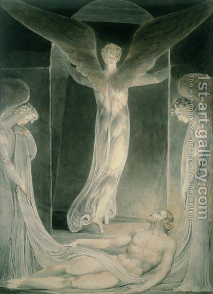 The Resurrection- The Angels rolling away the Stone from the Sepulchre by William Blake - Reproduction Oil Painting