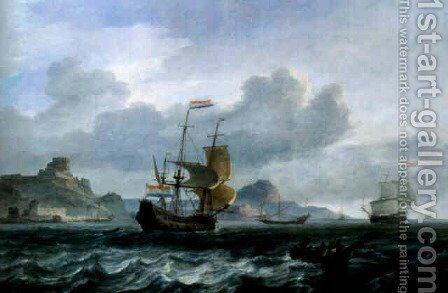 An Amsterdam man-of-war setting out from Mediterranean harbour by Jan Theunisz Blanckerhoff - Reproduction Oil Painting