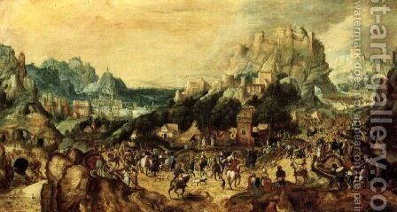 The road to cavalry by Herri met de Bles - Reproduction Oil Painting