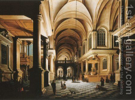 A church interior by candlelight with figures conversing 1652 by Daniel de Blieck - Reproduction Oil Painting