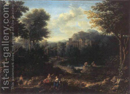 An arcadian landscape with herdsmen on a path and peasants fishing on a pond by Jan Frans van Orizzonte (see Bloemen) - Reproduction Oil Painting