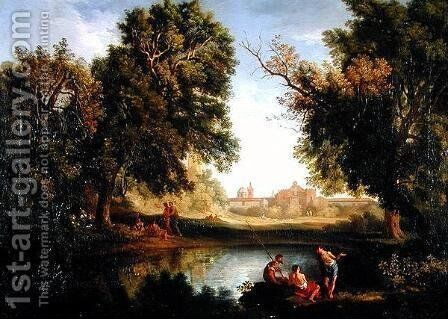 Classical Landscape (2) by Jan Frans van Orizzonte (see Bloemen) - Reproduction Oil Painting