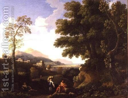 Classical Landscape with Figures 2 by Jan Frans van Orizzonte (see Bloemen) - Reproduction Oil Painting