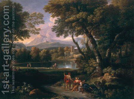 Landscape with a Lake by Jan Frans van Orizzonte (see Bloemen) - Reproduction Oil Painting