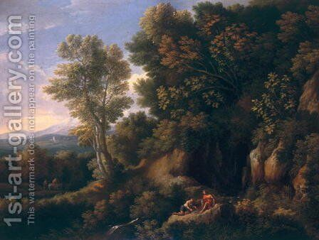 Landscape with a spring by Jan Frans van Orizzonte (see Bloemen) - Reproduction Oil Painting