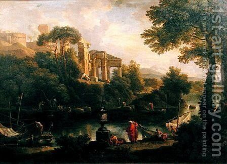 Landscape with figures by a pool with ruins in the background by Jan Frans van Orizzonte (see Bloemen) - Reproduction Oil Painting
