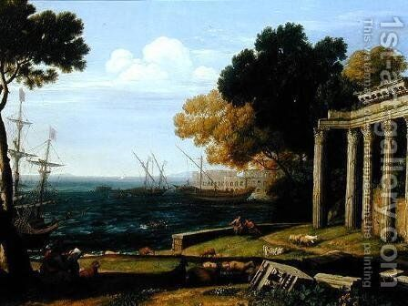View of the Sea, Port and Amphitheatre of Pola by Jan Frans van Orizzonte (see Bloemen) - Reproduction Oil Painting