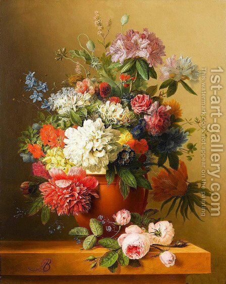 A still life of peonies, roses, honeysuckle, poppies, a crown imperial, rhododendrons and other flowers in a terracotta urn on a ledge by Arnoldus Bloemers - Reproduction Oil Painting