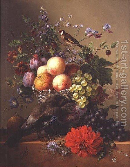 Still life with fruit and flowers by Arnoldus Bloemers - Reproduction Oil Painting