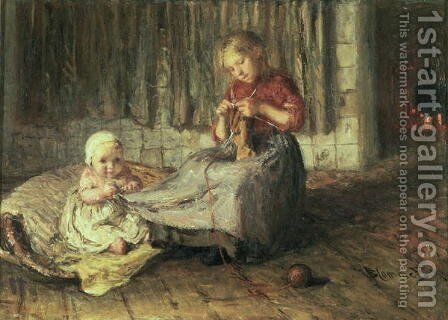 Baby sitting by Bart-John Blommers (or Bloomers) - Reproduction Oil Painting