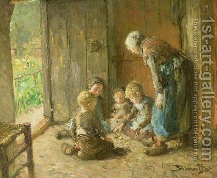 Playing Jacks on the Doorstep by Bart-John Blommers (or Bloomers) - Reproduction Oil Painting