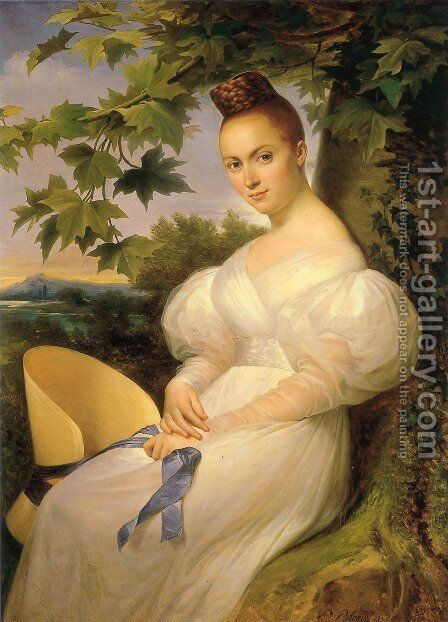 Portrait of a lady, seated in a landscape, in a white dress holding a straw hat 1830 by Merry Joseph Blondel - Reproduction Oil Painting