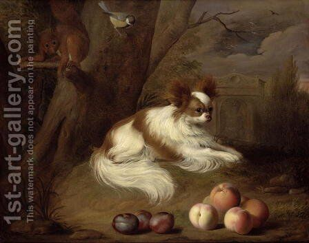 A Spaniel by a Tree with a Squirrel and a Blue-tit by Jakab Bogdany - Reproduction Oil Painting