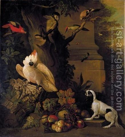 Still life with parrots, a jay, a woodpecker and a finch, together with a spaniel and various fruits in a parkland setting by Jakab Bogdany - Reproduction Oil Painting